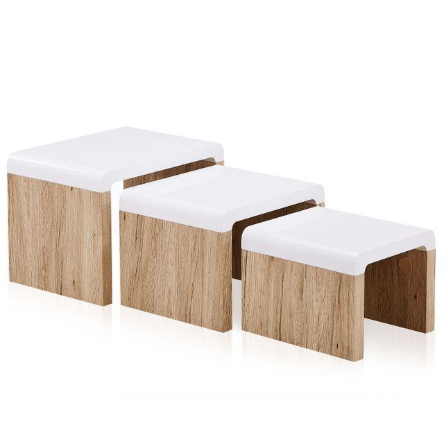 Menzzo table basse gigogne sonny en bois marron pas cher achat vente meubles tv hi fi rueducommerce