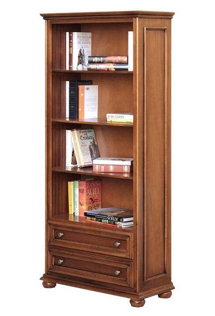Arteferretto - Meuble bibliothèque classique 2 tiroirs Noyer - pas ...