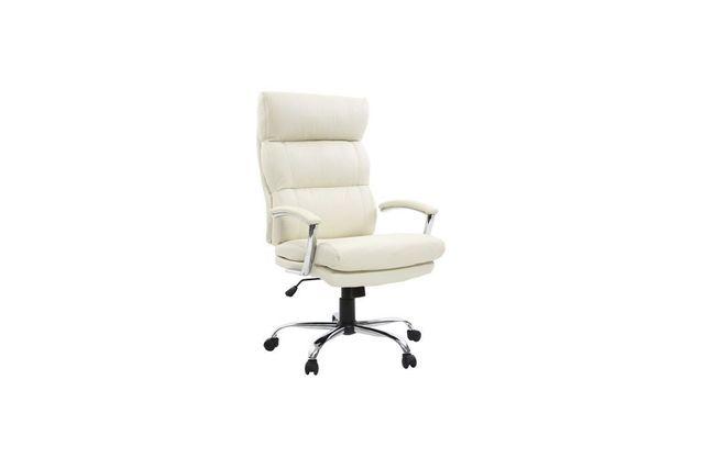Miliboo Fauteuil de bureau design cuir blanc Tilio