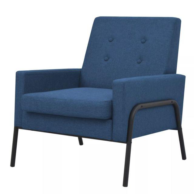 Fauteuil Acier et tissu Bleu Fauteuils Fauteuils club, fauteuils inclinables et chauffeuses lits | Bleu | Bleu