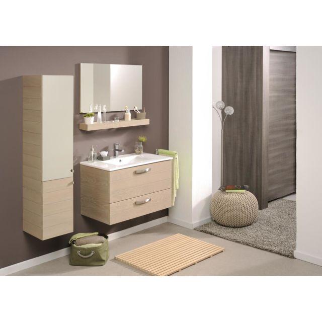 Miliboo meuble de salle de bain vania meuble sous vasque tablette miroir 80 cm pas cher - Meuble sous vasque 80 cm ...