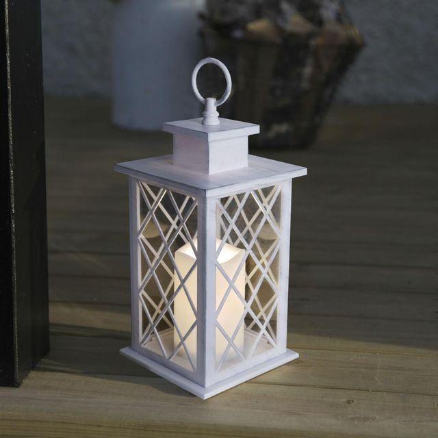 best season jaipur lanterne d 39 ext rieur m tal blanc bougie led t l commande h30cm. Black Bedroom Furniture Sets. Home Design Ideas
