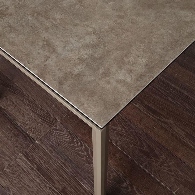 Nouvomeuble Table à manger extensible taupe en céramique Eva