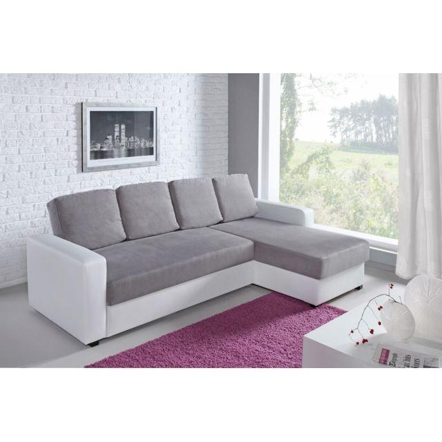 relaxima canap d angle fixe droit ou gauche loft blanc gris 236cm x - Canape D Angle Fixe
