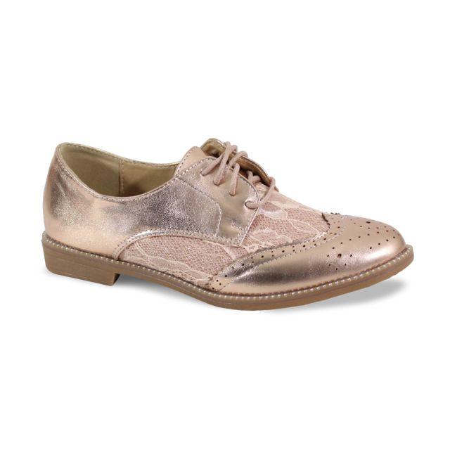 Alistair By Shoes Derbies Avec Dentelle Bi Matière - Femme - Taille 36 - Champagne