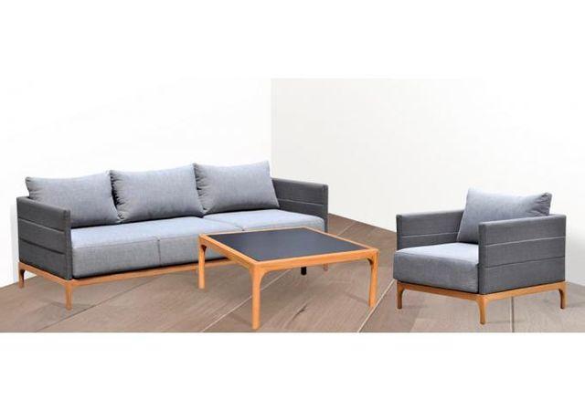 delorm salon de jardin scandinave en teck fsc et c ramique gris baya pas cher achat vente. Black Bedroom Furniture Sets. Home Design Ideas
