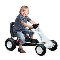 HOMCOM - Vélo et véhicule pour enfants kart à pédales avec frein à main acier plastique blanc et noir neuf 04