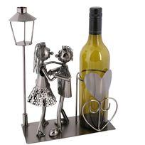 Touslescadeaux - Porte Bouteille de Vin Métal décoratif Amoureux - Décoration de table