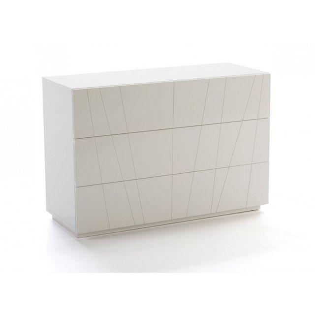 Ma Maison Mes Tendances - Commode 3 tiroirs en bois laqué blanc ...
