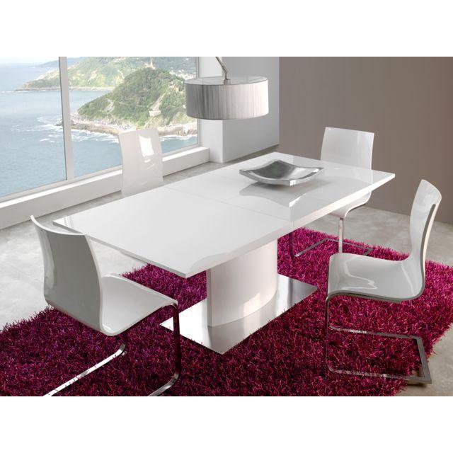 Table de salle à manger extensible blanc laqué design Icare