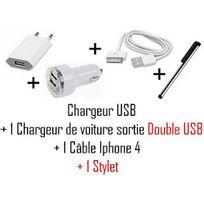 Cabling - Chargeur 3 en 1 Secteur + Voiture double Usb + Usb Pour iPhone iPod Nano Touch Mp3 Mp4 , Iphone 3, Iphone 3GS, Iphone 4 Chargeur secteur Usb pour iPhone iPod Nano Touch Mp3 Mp4 , Ipho + 1 Stylet