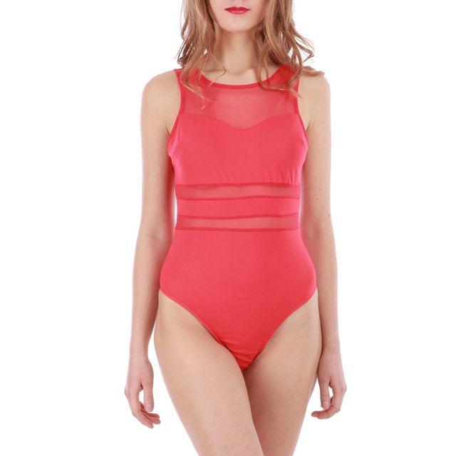 Lamodeuse - Body rouge framboise avec transparence - pas cher Achat ... 3119380ac0e