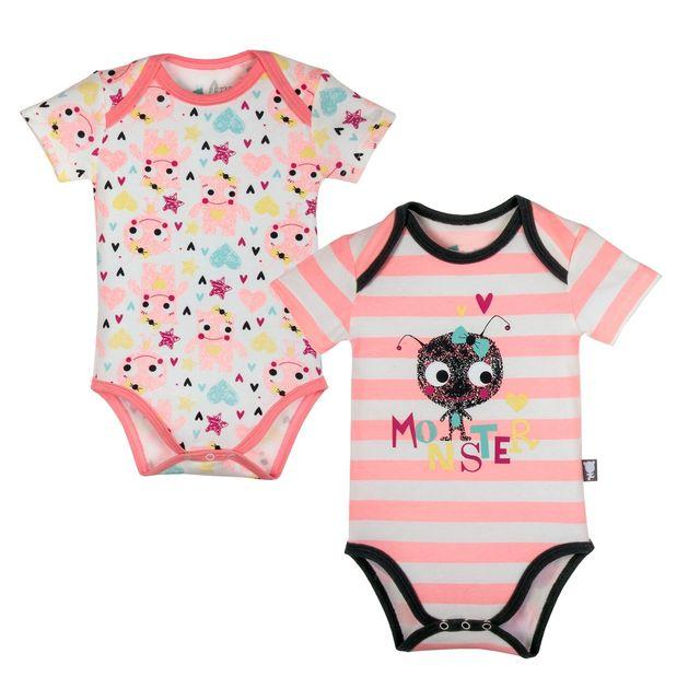 Petit Beguin - Lot de 2 bodies manches courtes bébé fille Monster - Taille  - 24 mois 92 cm Multicolore - 12 - pas cher Achat   Vente Sous-vêtements 2683bced303