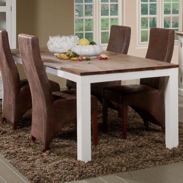Nouvomeuble Table 220 cm en bois massif blanc et marron Estale