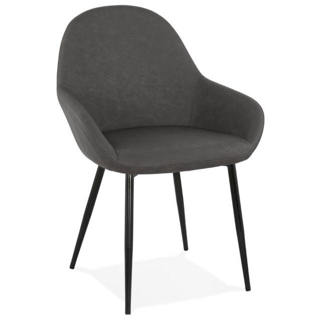 Alterego Chaise avec accoudoirs 'THELMA' grise design