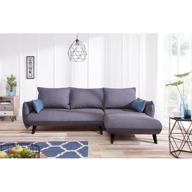 bobochic canap milano 4 places angle droit convertible coffre gris fonc avec. Black Bedroom Furniture Sets. Home Design Ideas