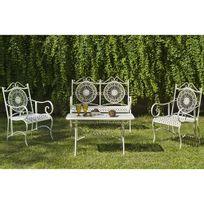 Hevea Jardin - Ensemble tables et chaises Set veracruz Acier - blanc
