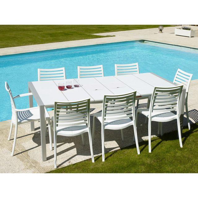 GROSFILLEX - Table de jardin en résine 190x100cm pour 8 à 10 ...