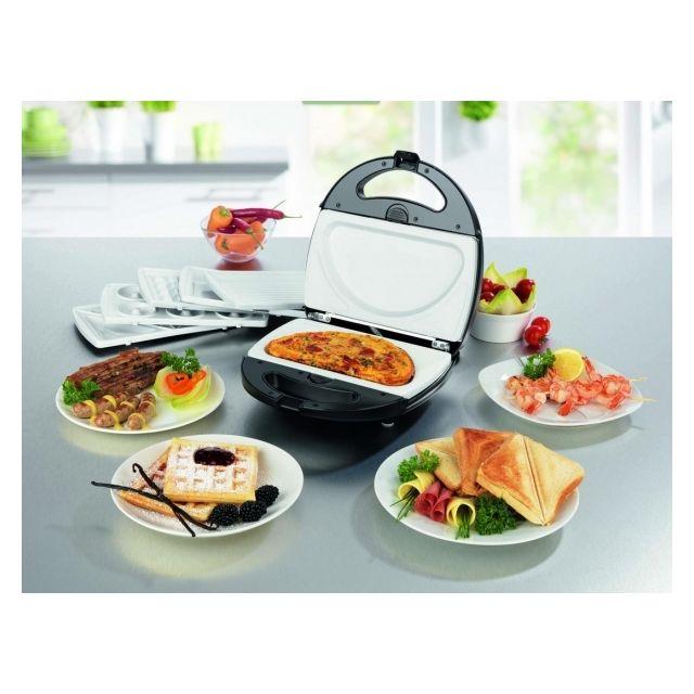 Gourmet-Maxx Vario Chef 6 en 1 - 6 jeux de plaques amovibles revêtement céramique - Gaufres, sandwiches, donuts, omelette, grill, pla