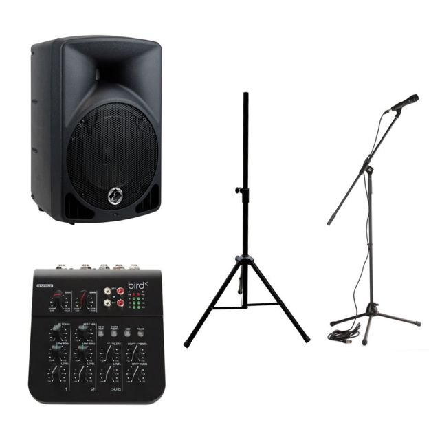 Eagletone Enceintes Actives Enceinte Eps8 V2 Active + Stand + Table Mixage + Micro Moulées