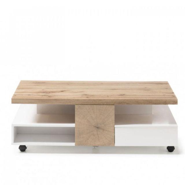 Inside 75 Table basse Reaux 120 x 60 cm décor chêne et blanc laque mat