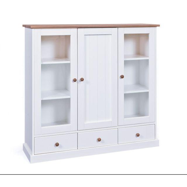 Comforium Vitrine de rangement contemporaine 131 cm coloris blanc et bois vernis