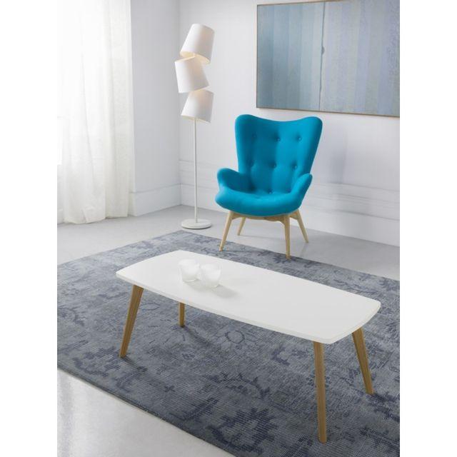 Ma Maison Mes Tendances Table basse rectangulaire en bois laqué blanc semi-mat et chêne Stefi - L 110 x l 50 x H 40