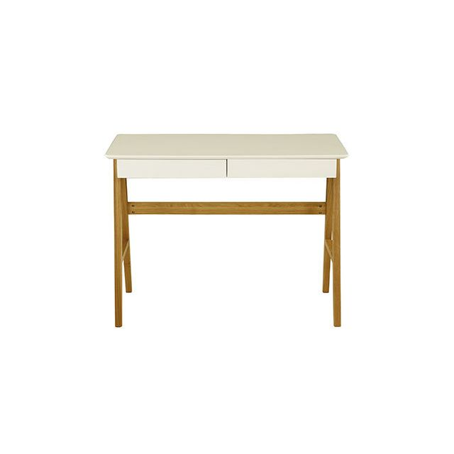Bureau 2 tiroirs laqué blanc et chêne massif