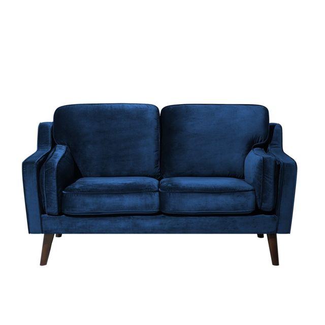 BELIANI Canapé 2 places en tissu bleu foncé LOKKA