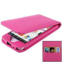 Techexpert - Etui Rose ouverture verticale avec 2 pochettes cartes pour ipod touch 6 et 5