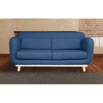 Autre - Canapé 3 places fixes pieds bois en tissu - coloris bleu nuit