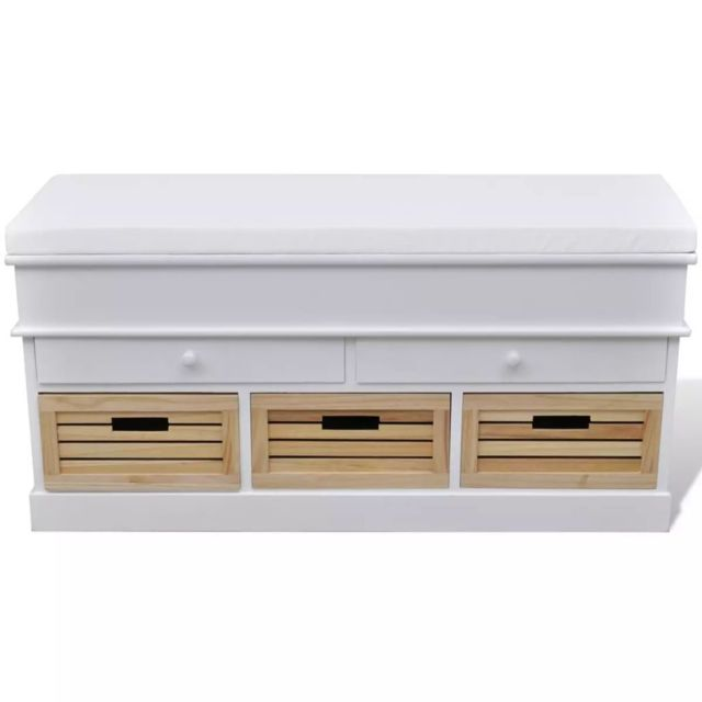 Vidaxl Banc de rangement avec 3 cagettes et 2 tiroirs, coussin inclus | Blanc