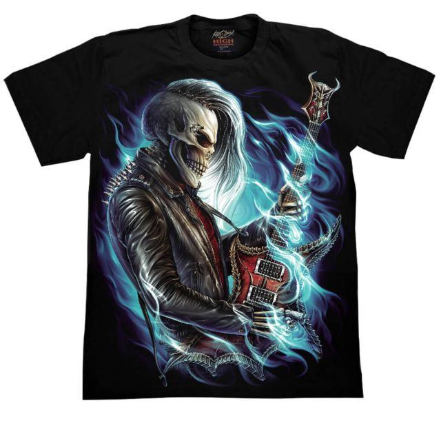 SANS MARQUE Rock Chang T-shirt Impression 3D-HD   Fluorescent   Squelette Guitariste   Toutes Tailles Disponibles
