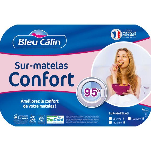 Bleu Calin Sur-matelas de confort anti transpiration lavable a 95