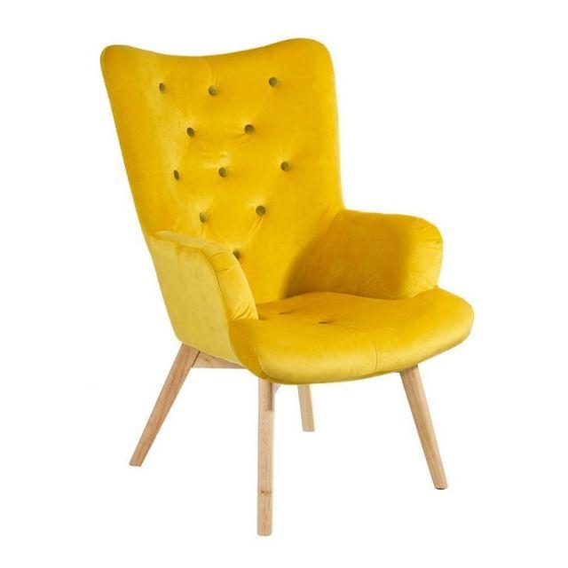 Ma Maison Mes Tendances Fauteuil en tissu effet velours jaune citron capitonné et pieds en bois Ardi - L 65 x l 74 x H 99