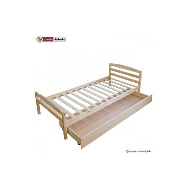 homestyle4u lit simple naturel verni 90x200 avec pied de lit et tiroir beige 90cm x 200cm. Black Bedroom Furniture Sets. Home Design Ideas