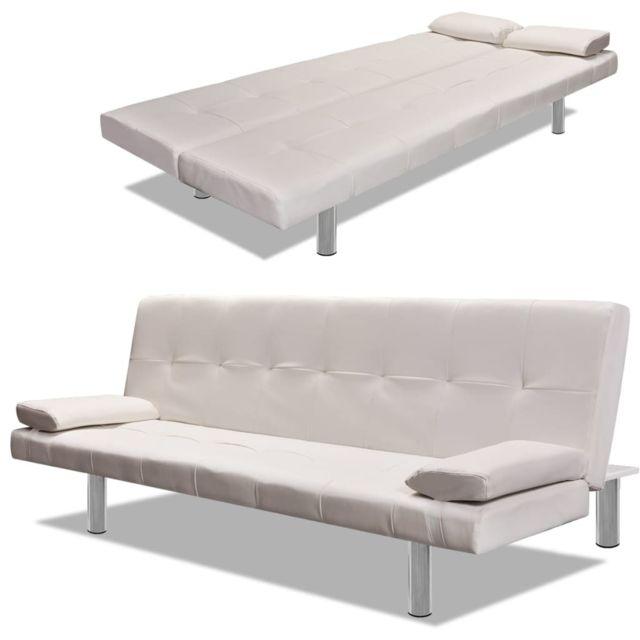 Distingué Meubles gamme Dublin Canapé-lit réglable avec 2 oreillers Cuir synthétique Blanc crème