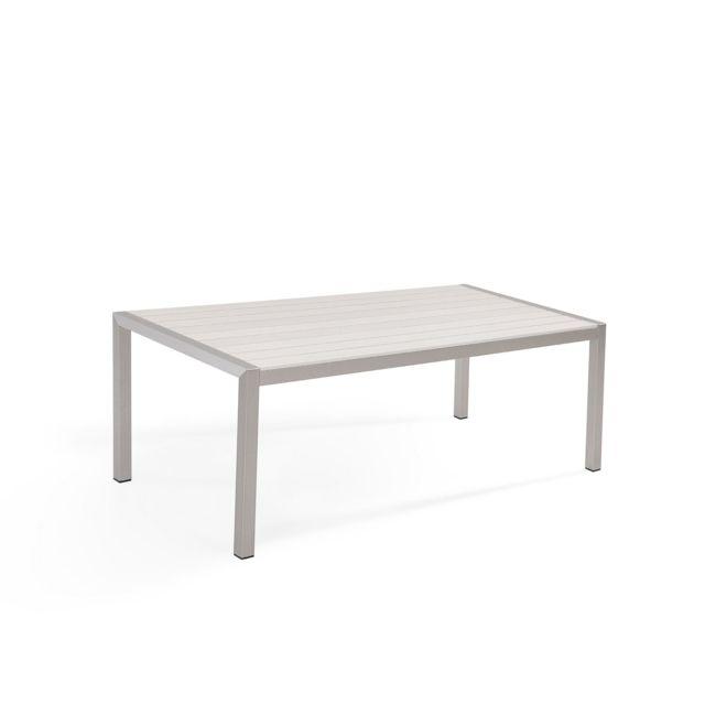 BELIANI Table de jardin en aluminium et bois synthétique blanc 180 x 90 cm VERNIO