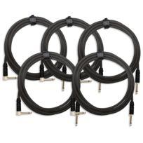 Pronomic - 5x Set Trendline Inst-3S câble à instrument 3m noir