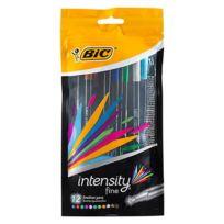 Bic - Stylo Feutre Intensity écriture fine – Pointe 0.4 mm – Pochette de 12 couleurs assorties