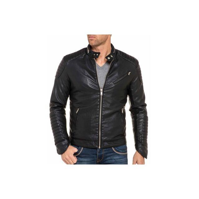 b52fc91dd13f1 Terance Kole - Veste design noir en simili cuir - pas cher Achat ...