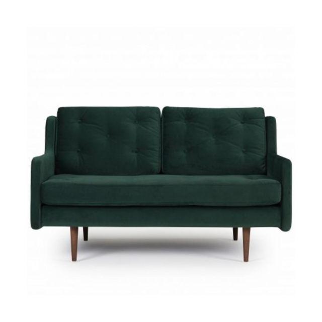 INSIDE 75 Canapé 2 places design scandinave HORTE velours vert piétement en chêne teinté noyer