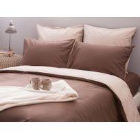 Comptoir des toiles - Taie d'oreiller reversible bicolore 100% coton 60 fils passepoil contrasté Cesar