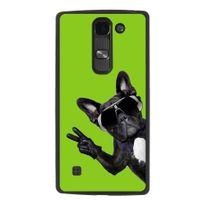 Kabiloo - Coque rigide noire pour Lg Spirit avec impression Motif chien à lunettes sur fond vert