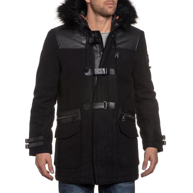 LEGENDERS Duffle coat long noir pour homme