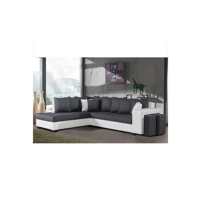 Canapé d'angle à gauche gris et Pvc blanc Paloma