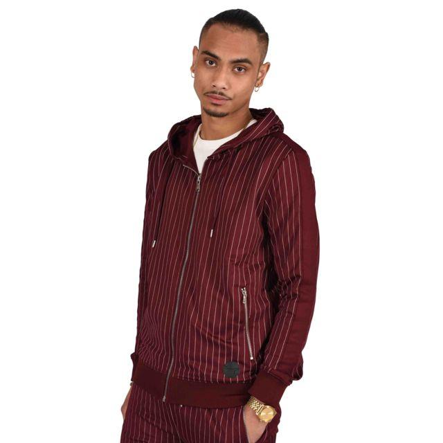 PROJECT X Veste à capuche à rayures tennis et bandes contrastantes Homme Paris, Taille: S, Couleur: Bordeaux