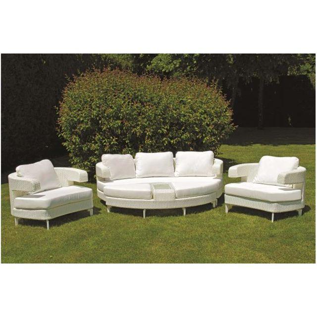 Declikdeco - Salon de jardin blanc en résine Adda - pas cher Achat ...