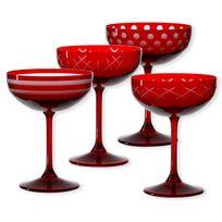 Bruno Evrard - Coupes à champagne taillées couleur rouge 20cl - Lot de 4 - Quorus