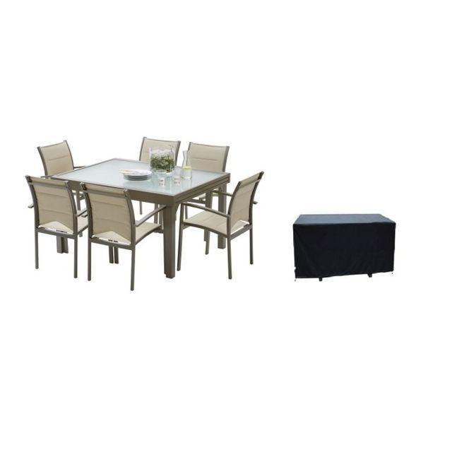 Wilsa salon de jardin modulo 6 fauteuils taupe avec - Salon de jardin avec table a rallonge ...